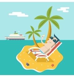 Cartoon Man Character Summer Travel Vacation Sea vector image vector image