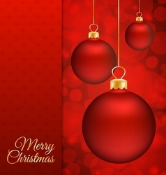 Christmas balls and Red abstract background vector image vector image