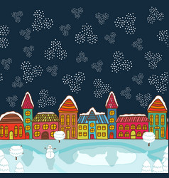 Christmas house background vector image vector image