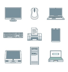 Colored outline computer gadgets icons vector