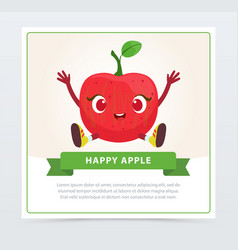 Cute humanized red apple fruit character happy vector