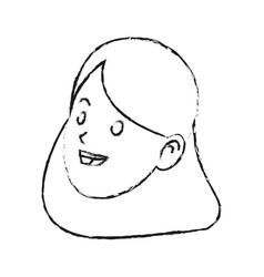 Face of happy pretty woman icon image vector