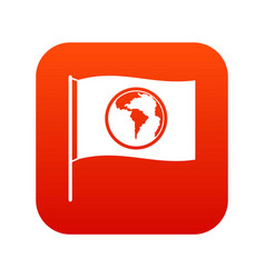 flag with world planet icon digital red vector image