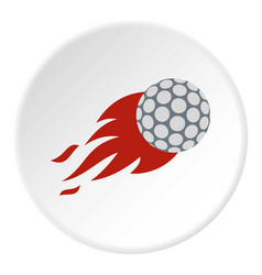 Flaming golf ball icon circle vector