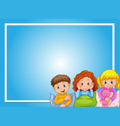 Frame design with kids in pajamas vector