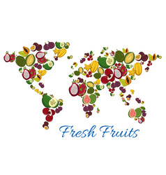 fresh tropical exotic fruits in shape of world map vector image