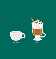 glace and flat white coffee drinks vector image