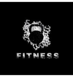 Grunge kettlebell on black background design vector