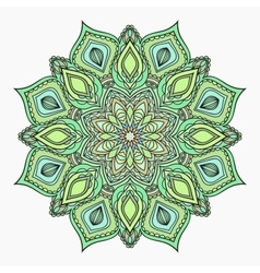 Hand drawn zentangle lace green pattern vector