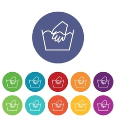 Hand wash icons colored set vector