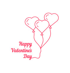 happy valentine s day with thin line balloon vector image