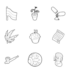 Hashish icons set outline style vector image vector image