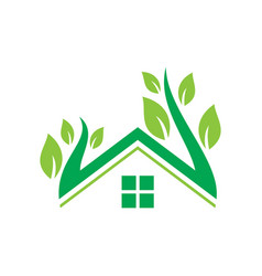 home nature leaf ecology logo vector image vector image