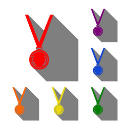 Medal simple sign set of red orange yellow vector