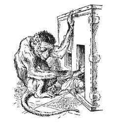 Monkey grabbing gulliver vintage vector