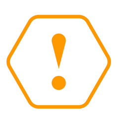orange hexagon exclamation mark icon warning sign vector image vector image