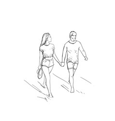 Romantic couple hold hand walking man and woman vector