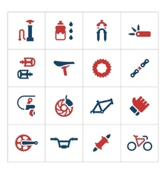 Set color icons of bicycle parts and accessories vector