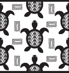 Turtle black stencil seamless pattern vector