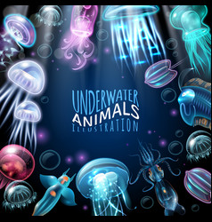 underwater animals frame background vector image vector image
