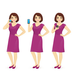woman in dress with the phone vector image vector image
