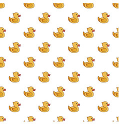 Yellow duck toy pattern vector