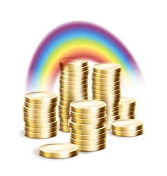 Rainbow over money vector