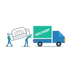 Delivery furniture truck transportation vector