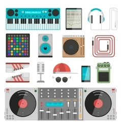 Dj music equipment set vector