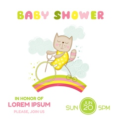 Baby Shower Card - Baby Girl Cat on a Bike vector image