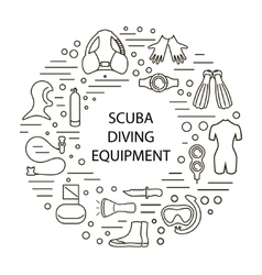set of scuba diving vector image