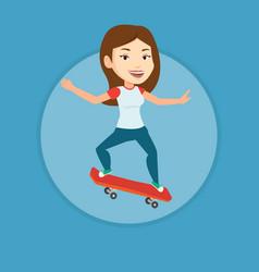 woman riding skateboard vector image