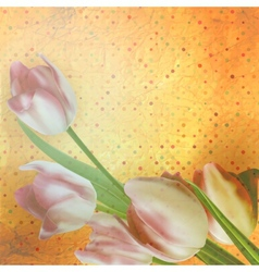 Beautiful tulips against polka dots eps 10 vector
