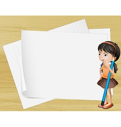A girl thinking near the empty papers vector image