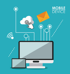Blue poster mobile device with desktop computer vector