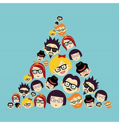 Vintage hipsters faces triangle vector