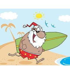 Surfing santa cartoon vector image