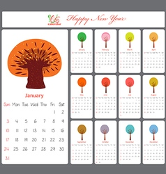 Unusual calendar for 2016 with season trees vector