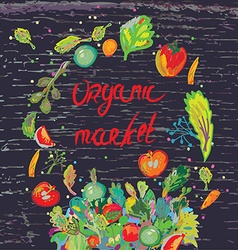 Organic market banner for with fresh vegetables vector