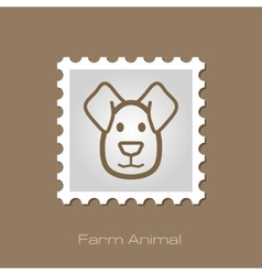 Dog stamp animal head vector