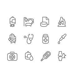 Outline medical icons vector
