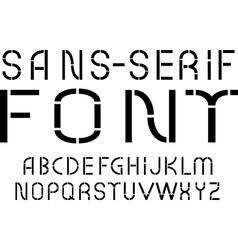 Black sans-serif modern font on white background vector