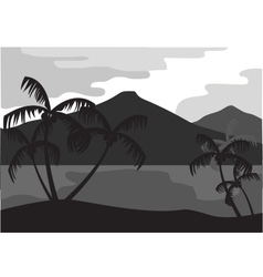 Silhouette of coconut tree with mountain vector