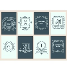 Set cards ornamental logo frame monogram vector