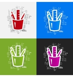 Drawing business formulas stationery tools vector