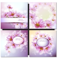 Abstract flowers card vector image vector image