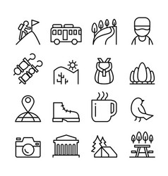 adventure travel icon set in thin line style vector image vector image