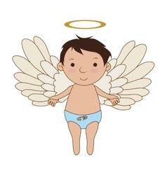Baby angel cartoon icon vector