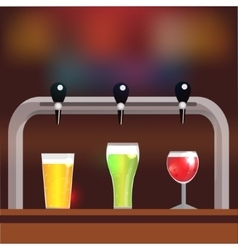 Bar counter with crane and three glasses of beer vector