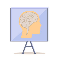 Board with human head silhouette and brain vector